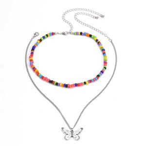 10Sets Lot Brand New Trend Rice Beads Chokers Simply Alloy Butterfly Pendant Necklace For Women Double Layer Necklace Jewelry European