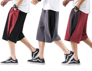 Mens Plus Size M-8XL Cotton Linen Wide Leg Shorts koreanische Art Colorblock Cargo-Shorts Street Hip Hop Harem Shorts