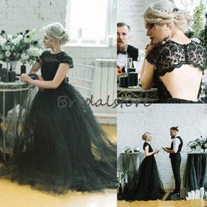 2021 Country Style Black Свадебные платья готические Cap рукава Кружева Sexy Открыть Назад Bohemian Хэллоуин Свадебное платье O шеи Дешевые женщин невесты