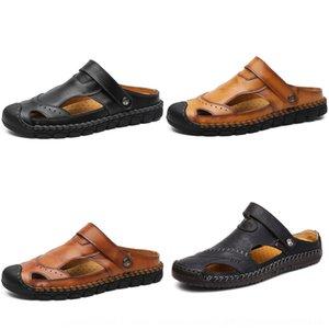 y los nuevos pantalones apretados de las polainas de moda hechos a mano transpirable sandalias de cuero ocasionales sandalias perezosas de doble propósito verano de los hombres mv5Yk