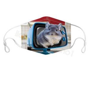 Hayvan baskılı yüz maskesi 3D karikatür kovboy köpek kedi unisex yüz maskesi, anti toz rüzgar resuable yüz örtüsü bisiklet ağız maskesi FFA4387-4