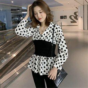 MgqdT langärmelige Frauen-Licht sitz neue in modischen Design Taille V-Neck-Shirts Allgleiches Schlankheits westliche Stil Polka Hemd dot