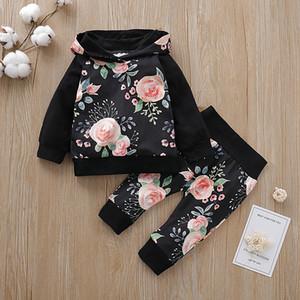 Yenidoğan Bebek Bebek 2adet için 0-24M Yeni Sonbahar kış Çiçek Elbise Seti Kapşonlu Hoodie Üst + Pantolon / 2019 kız bebek giysileri ayarlamak Y200803