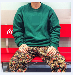 Camisola Homens Street Dance Skate Cotton Logo clássico bordados Rodada pescoço além de veludo moda Hip hop pullover novo estilo