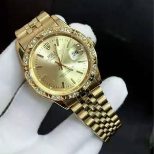 Orologi Top in acciaio completa Quarzo Moda Uomo Quadrante braccialetto delle donne oro Chiusura pieghevole Maestro Maschio Regali di diamanti coppie Montre de luxe