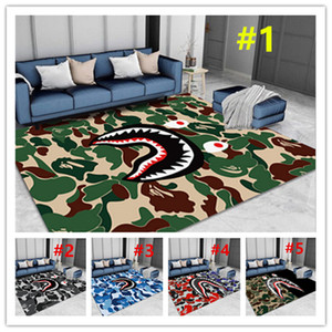 Shark Mouth Kitchen Carpets Living Room Rug Sofa Table Camouflage Blanket Bedroom Yoga Pad Door Mat Non-slip Absorb Water Bath Mats E81101