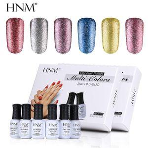 HNM 6pcs lot 8ML Glitter Nail Gel Polish Soak Off UV Gel Nail Polish Set Paint Gellak Lucky Lacquer Semi Permanent Kit