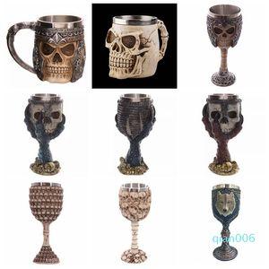17styles Skull Cup Halloween 3D Testa in acciaio inox teschio GGA2413 Skull Tazza bicchieri di birra Tazze Rider Wine Goblet scheletro Qxbmh