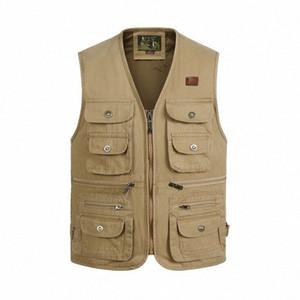 Men's Vest Washed cotton Sleeveless Multi Pocket Camera Vest Travelers Photography jacket Men's Clothes Waistcoat kXh0#