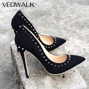 Veowalk Марка Заклепки Дизайнер Женщины носками насосы Lady замша Stilletos Sexy Высокие каблуки ботинки платья женщина Customized Accept
