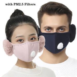 Máscara Facial Tampa Com Plush Ear máscara protetora PM2.5 grosso e quente Boca Máscaras Inverno Boca-Muffle Earflap Outdoor YYB1938
