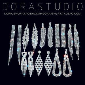 Elegant Long Fringe Pendant Banquet Luxury Dress All-Matching Exaggerated Personalized Rhinestone Nightclub Earrings