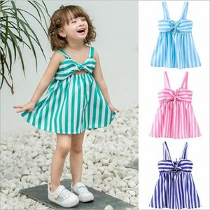 Roupa Bebés Meninas listrado bowknot vestidos Ins Verão Princesa Vestidos Moda Casual vestido Braces Skirt Praia Halter Vestido Beachwear 2nQH #