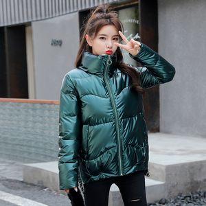 LY VAREY LIN 2020 새로운 겨울 버블 코트 여성 고체 스탠드 업 칼라 광택 패딩 재킷이 두꺼워 대형 여성 짧은 재킷