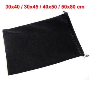 Самый большой 30 * 40, 30 * 45, 40 * 50, 50 * 80 см Большой размер Черный Drawstring мешок бархата для подарка Большой Упаковка сумки Розничная от 1 шт