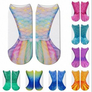 Mermaid Socks Colorful Fish Scale Printed Socks Fashion 3D Animal Shallow Socks Kids Adult Family Wear Party Favor CLS709 6wOK#