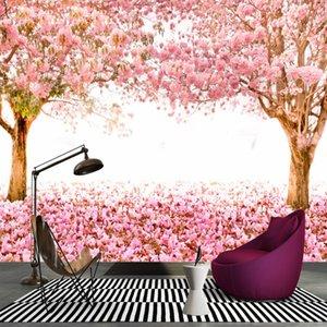 Dropship Wallpaper 3D Stereo Romantic Warm Cherry Tree Boulevard Murals Backdrop Wall Wallpaper Custom Mural