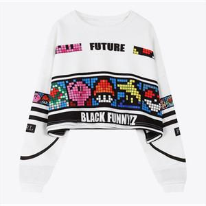 Womens Cropped Sweatshirt Cartoon Print Crop Tops Long Sleeve Letter Print Hoodies Women 2020 Autumn Hip Hop Loose Hoody Female