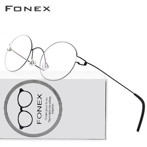 FONEX Screwless Eyewear Prescription Eyeglasses Frame Women Round Myopia Optical Denmark Korean Glasses Frame Men Titanium 98607 T200812