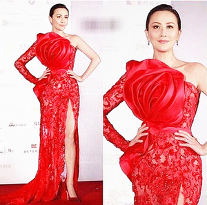 Sexy Red Lace Prom Dresses One Shoulder Side High Slit Hand Made Rose Flowers Fashion Design Long Formal Evening Gowns Red Carpet Dress