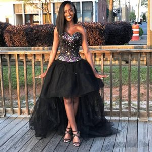Sexy Sweetheart Black Girls Homecoming Dresses Rhinestones Hi-Lo Lace Up Backless Sweet 16 Evening Party Dresses Sleeveless Prom