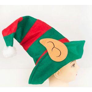 Смешные Рождественский мужской Эльф Hat Модные взрослых Red Green Stripe плюша шарика украшения Клоун Cap Christmas Party украшения