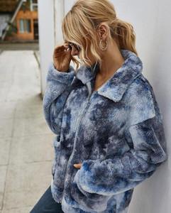 Escudo tie-dye de la solapa de rebeca del cuello tie-dye chaqueta de las mujeres de la manga de otoño invierno Blusas capas largas flojas ocasionales grueso Mujeres Outerwears DWD1156