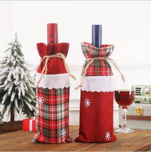 Botella de Navidad de la tela escocesa Derac botella de vino del paño de Champán del vino bolsa de decoraciones de Navidad suministra Envoltura Recuerdos LSK733