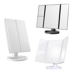Cgjxs Maquillaje Led espejo de aumento espejo plegable con el soporte base 180 grados de rotación de la pantalla táctil del espejo del maquillaje