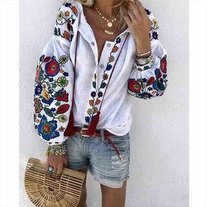 Women V Neck Top Fashion Ladies Flower Print Casual Loose T Shirt Tops Blouse Women Casual Loose T Shirt Tops Blouse