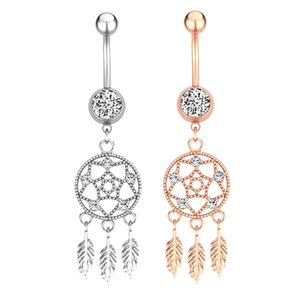 Belly Button Rings Dreamcatcher Belly Piercing Crystal Flower Crystal Body Jewelry Navel Piercing Ring