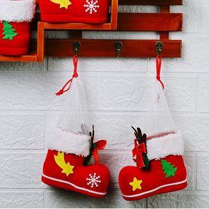 Mode de Noël décorations de bois de cerf bottes de Bell Noël mignonnes bottes de bonbons rouge cadeau enfants bonbons Boîte de Noël de T2I51292