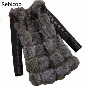 Rebicoo Nueva hierba de piel sintética mujeres de la capa del chaleco chaquetas de imitación de piel de moda de manga larga capa femenina NcHG #
