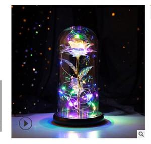 2020 heißen Verkauf Rose Glasabdeckung leuchtendes LED Valentinstag Weihnachtsgeschenk Kunsthandwerk Geburtstagsgeschenk