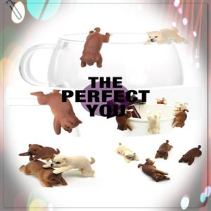 9pcs / lot Mini Personalizado PVC Dog Toys Cup Borda A Copa Figuras Forma animal Toy Crianças criativa casa de Brinquedos