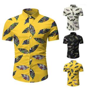 Strand-Hemd New Mens-Sommer-beiläufigen Print-Polo-Hemd-beiläufige kurze Sleeved Floral Tees Mode