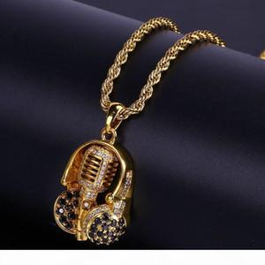 Позолоченный наушники с подвес 3A Циркон ожерелье хип-хоп Gemstone ожерелье хип-хоп мода Мужская