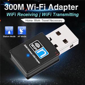Portátil Mini wi-fi USB dongle adaptador sem fio 2.4G Wifi Receiver Extenal placa de rede 300Mbps Para Win 7 / 8/10 Mac OS Linux USB Wi-Fi dongle