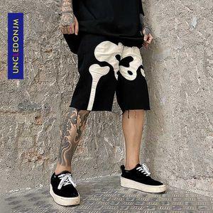 UNCLEDONJM Herren Skeleton Denim Shorts Distressed Schwarze Jeans Shorts Sommer-Knie-Länge für Männer Jeans B21