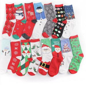 Noel Çorap Noel Santa Kardan Adam Kar tanesi Pamuk Çorap Kadın Erkek Kış Sıcak çorap Orta buzağı Uzun Çorap Çorap D82009 tutun