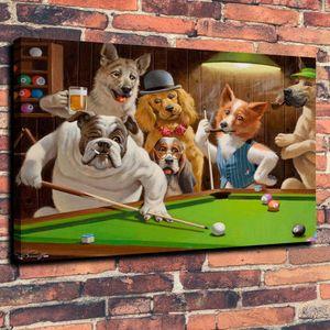 Havuz Bilardo Duvar Sanatı Çalma Köpekler A Game Yağ Tuval Ev Dekorasyonu Çerçevesiz üstünde resim yazdır