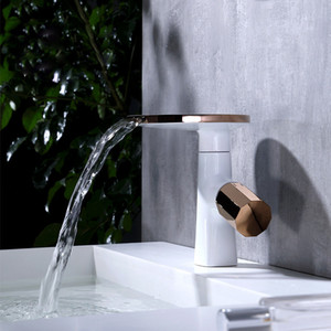 Bathroom Basin Faucets Soild Brass Modern Cold & Hot Sink Mixer Tap Deck Mounted Rose Gold & White New arrival Waterfall Faucet