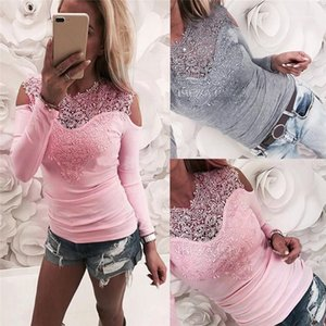Solid Color Womens Tops Spring Womens Clothing Floral Lace Print Long Sleeve Sexy Ladies Tshirts Panelled