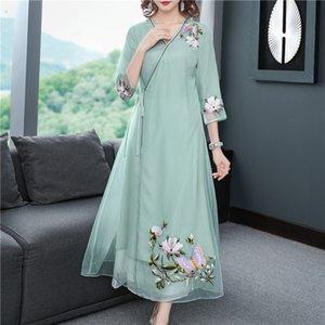 RJw36 iNaVI Hanfu модифицирована тяжелой промышленности вышивки Tencel A- ЛИНИЯ DRESS этническом стиле Тан Тан Zen A- линия платье китайский Вышитые костюм с