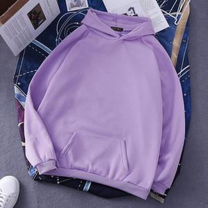 Harajuku Sweats à capuche solide Couleur capuche Hauts Femmes Hommes O Neck Sweat à manches longues d'hiver plus de velours Manteau Streetwear Épaississement