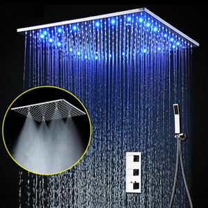 20 인치 대형 샤워 시스템 온도 조절 믹서지도 미스트 레인 샤워 3 가지 헤드 LED 천장 라이트 패널 핸드 헬드 샤워 세트