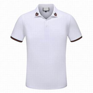 بيع الساخنة مخطط النمر الرجال أزياء فاخرة الكلاسيكية التطريز قميص القطن الرجل مصمم تي شيرت أبيض مصمم الأسود لعبة البولو قميص الذكور M-3X
