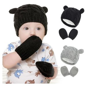 Winter Hat for Baby Girl Warm Newborn Accessories Kids Knit Cap 4 Colors Winter Hat For Kids with Gloves Infant Ear Beanie Cap AAB1100
