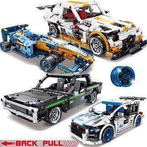 Racing Back Technic Vehicle Car Racer Truck 02 Pull Racing DIY Building Kids Car For Sports Speed Champions Bricks Toys Blocks Model Rrqcl