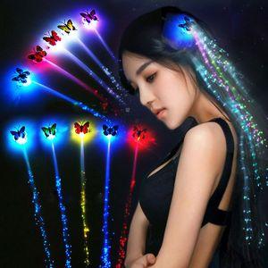 빛나는 빛은 LED 헤어 라이트를 깜박이는 머리카락 조명 나비 밤 조명 파티에 대 한 파티에 대 한 광섬유 확장 배려 장난감